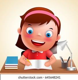 Girl kid vector character happy studying in desk doing school homework while holding pencil and books. Vector illustration.