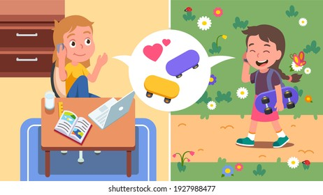 Girl kid walking outdoors, carrying skateboard, calling on phone talking with friend sitting at home desk. Girl child inviting friend to skate. Friendship, active leisure. Flat vector illustration
