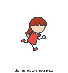 Girl Kids Run Play Vector Logo Design Element