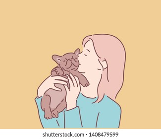 Girl kissing her puppy. Hand drawn style vector design illustrations.