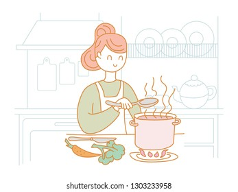 Girl in the kitchen stirring soup spoon. Doodle. Vector