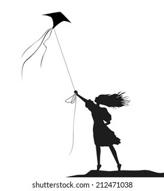 girl with kite, black and white, on the wind, blowing