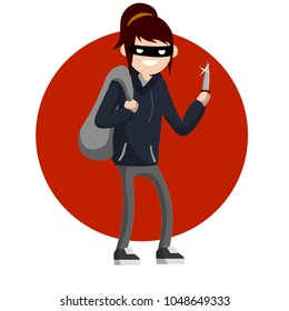Girl with the knife. dangerous woman in a sweatshirt in a threatening pose. the evil girl is a bully in a mask. female felony. robber thief with a bag stolen on red circle - Cartoon flat illustration