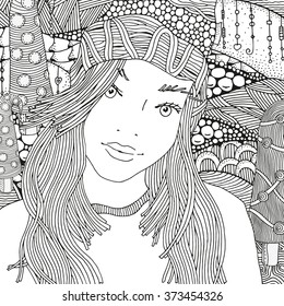 Girl in a knitted cap. Pattern for coloring book.  Artistically winter. Sketch. Warm clothes. Hand-drawn vector illustration. Zentangle patterns.