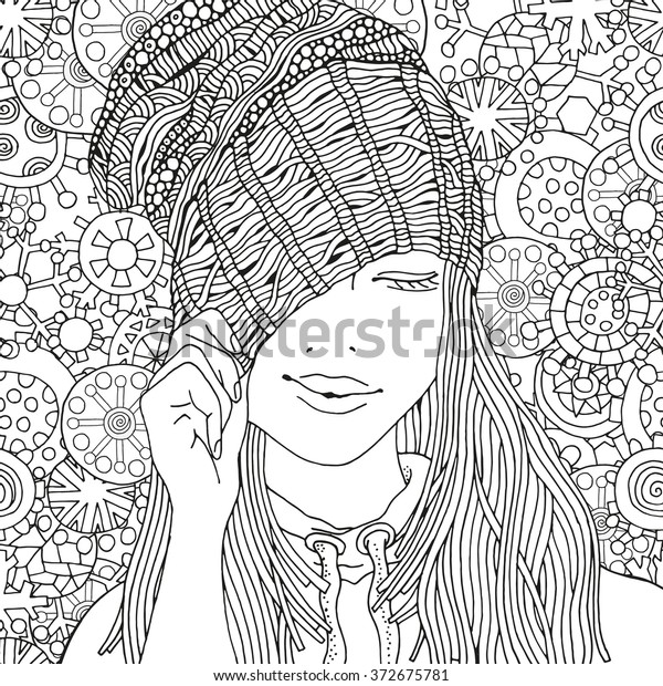 Girl Knitted Cap Pattern Coloring Book Stock Vector Royalty Free