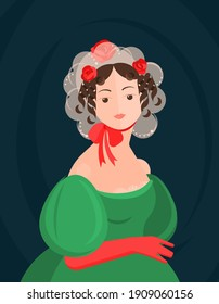 A girl in a lacy 18-19th century hat and a red bow and a green dress. Cute curls on the head. Noble portrait. Colorful vector illustration in flat cartoon style.
