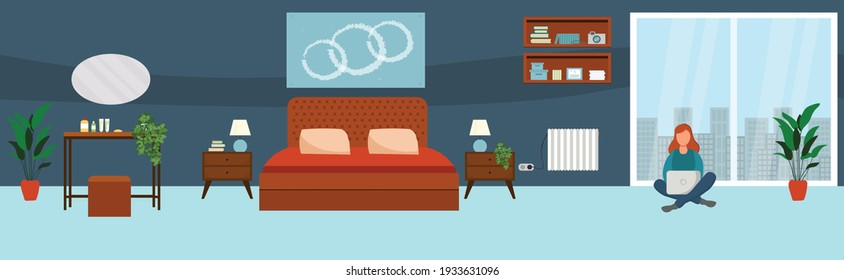 Girl with laptop in Living room. Freelance or studying concept. Illustration in flat style. Vector illustration of freelance work. Woman work online, teleworking.