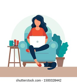 Girl with laptop on the chair. Freelance or studying concept. Cute illustration in flat style.