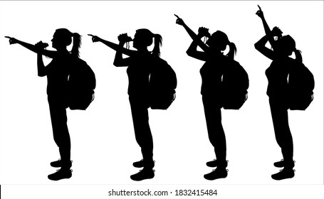 Girl with a large backpack behind back and binoculars in hands. Woman looks through binoculars. Hand is raised up, indicates the direction. Side view. Silhouettes are isolated on a white background.