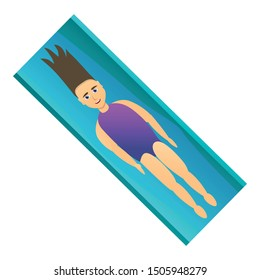 Girl lay on pool mattress icon. Cartoon of girl lay on pool mattress vector icon for web design isolated on white background