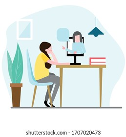 Girl learn online at home.  Home education, distance learning.