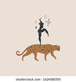 Girl and leopard art. Woman and wild tropical cat friendship concept. Human and animal funny print. Vector illustration. Clipart image.
