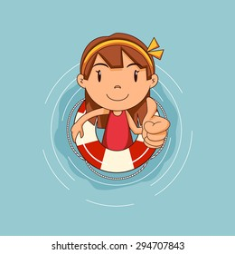 Girl with lifebuoy floating on water, vector illustration