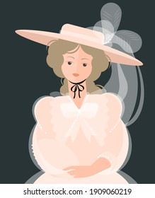 A girl in a light dress of the 18-19th century and a hat with large brims and feathers. Noble portrait. Colorful vector illustration in flat cartoon style.