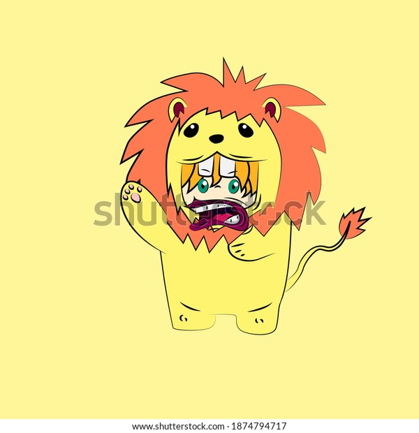 girl with lion costume. good use for sticker streetwear or t-shirt design