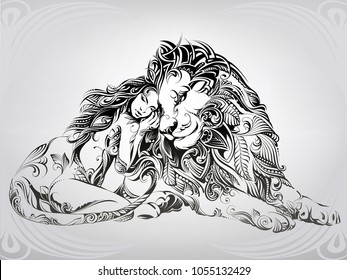 Girl and lion in ornament
