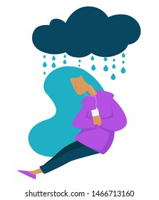 Girl listening to music depression teen stress sad mood vector isolated female character under rainy, cloud teenager with player unstable emotions upset schoolgirl and frustration puberty or growing u