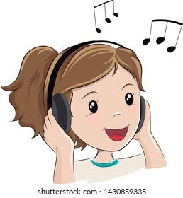Girl listening to music. Vector illustration