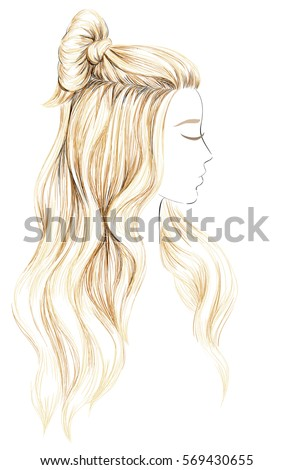 Girl Long Blond Hair Female Hairstyle Stock Vector Royalty Free