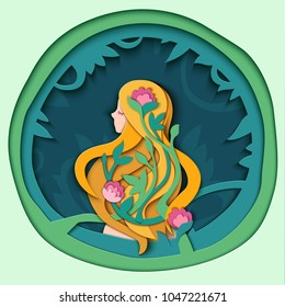 Girl with long blond red hair in flowers, color illustration in style Paper cut. Vector  Floral Greeting card. Happy Women's Day. 8 March. Happy Mother's Day.