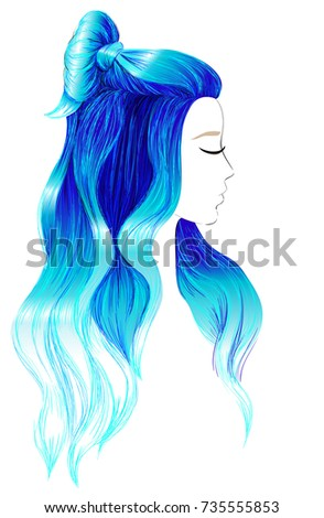 Girl Long Blue Dyed Hair Female Stock Vector Royalty Free
