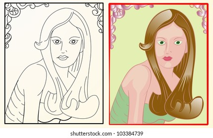 girl with long brown hair in pink frame with outline version