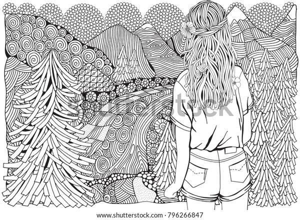 Coloriage Fille Cheveux Longs.Image Vectorielle De Stock De Fille Aux Cheveux Longs Dans