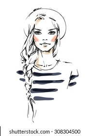 Girl with a long one sided braid