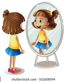 Girl looking at herself in the mirror