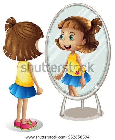girl looking herself mirror のベクター画像素材 ロイヤリティフリー