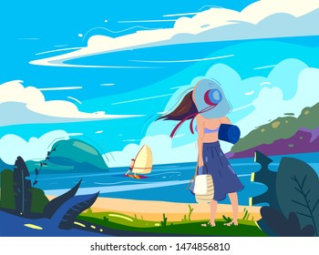Girl looking on a windsurfer boy on a sea with beach background in sunny weather with clouds. Vector illustration in flat design style.