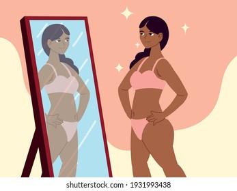 girl looks herself mirror self acceptance