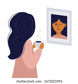 Girl looks in mirror and winks to herself. Young woman in pajamas with cup of coffee in hands smiling at her reflection. Magical morning, love yourself or slow life concept. Vector illustration poster