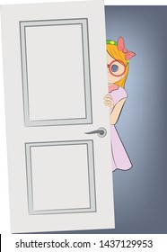 girl looks out from behind the door. vector illustration.