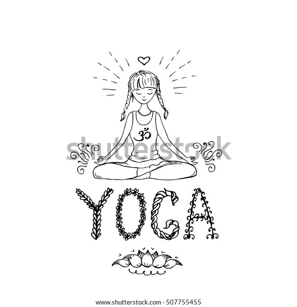 Girl Lotus Yoga Pose Doodle Hand Stock Vector Royalty Free 507755455
