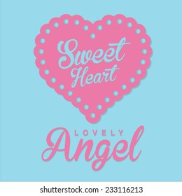 Girl Love angel typography, t-shirt graphics, vectors