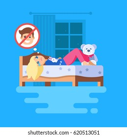 A girl lying in bed with a teddy bunny and crying. The girl trying to cause self-pity and thinking about a boy who broke her heart. Her hands folded across her stomach. Isolated vector scene.