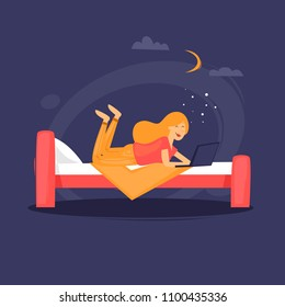 Girl is lying on the bed with a laptop. Flat design vector illustration.
