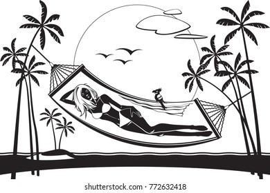 Girl lying on a hammock on the beach - vector illustration