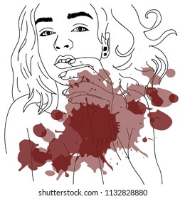girl lying suffer blood wine splash/ contour/ lineart/ Pop art retro vector illustration kitsch vintage drawing/ Isolated image on white background. Comic book style imitation.