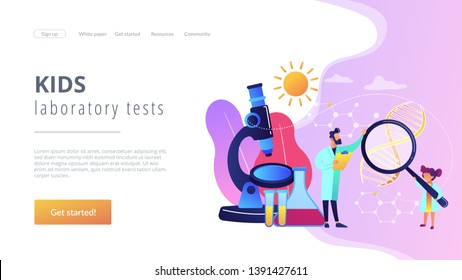 A girl with magnifier and scientist carry out an experiment, tiny people. Kids Science camp, young scientists lessons, kids laboratory tests concept. Website homepage landing web page template.