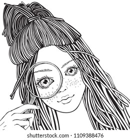 Girl with a magnifying glass. Hand drawn vector illustration in doodle style. Adult coloring book page.