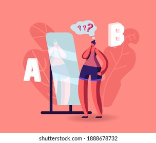Girl Make Important Decision Stand at Mirror Choosing Between A or B Variants. Female Character Doubts, Pros and Cons of Something, Advantages or Disadvantages Choose Wear. Cartoon Vector Illustration