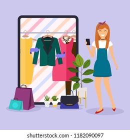 Girl make shopping online from phone. Sale. Flat design modern vector illustration concept.