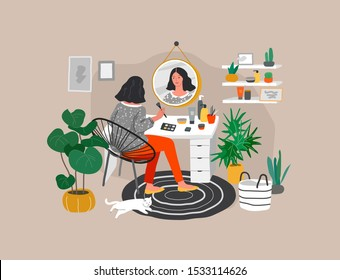 Girl makes make up in front of a mirror for skin care and beauty blogging. Daily life and everyday routine scene by young woman in scandinavian style cozy interior with homeplants. Cartoon vector