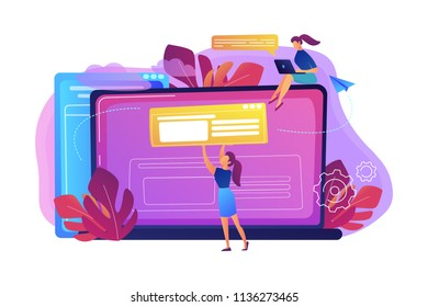 A girl makes a post on big laptop. Bloger is shareing information in weblog, online journal or informational website. Bloging and personal web log concept. Violet palette. Vector illustration.