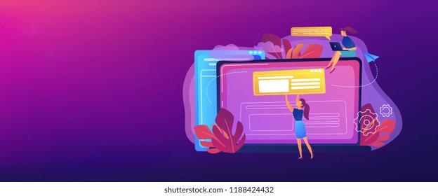 A girl makes a post on big laptop. Bloger is shareing information in weblog, online journal or informational website. Bloging and personal web log concept. Violet palette. Header or Footer banner.