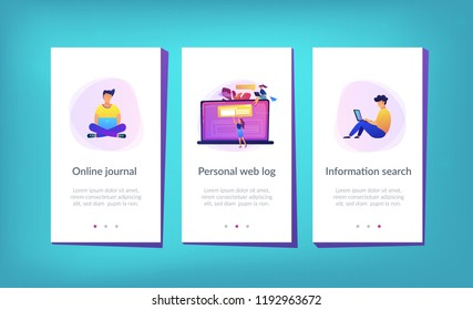 A girl makes a post on big laptop. Bloger is shareing information in weblog, online journal or informational website. Bloging and personal web log concept. Violet palette. App interface template.