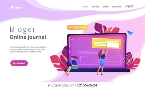 A girl makes a post on big laptop. Bloger is shareing information in weblog, online journal or informational website. Bloging and personal web log concept. Violet palette. Website landing web page.
