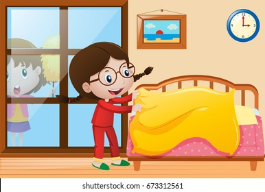Make Bed Cartoon High Res Stock Images Shutterstock